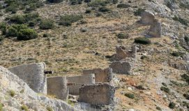 Ruins of ancient Venetian windmills built in 15th century, Lassithi Plateau, Crete, Greece. Most typical characteristic of the Plateau. In the past, they Royalty Free Stock Photo