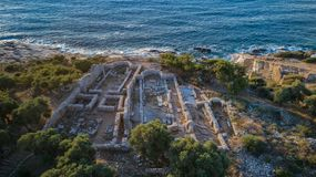 Ruins of ancient village in Archaeological site of Aliki. Thassos island, Greece stock image