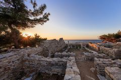Ruins of ancient village in Archaeological site of Aliki. Thassos island, Greece. Ruins of ancient village in Archaeological site of Aliki, Thassos island, East royalty free stock photos
