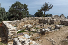Ruins of ancient village in Archaeological site of Aliki, Thassos island,  Greece Royalty Free Stock Photography