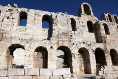 Ruins of ancient wall. Athens Acropolis theater rear view stock photo