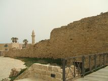 Ruins. Ancient walls of Caesarea, Israel, Middle East Stock Images