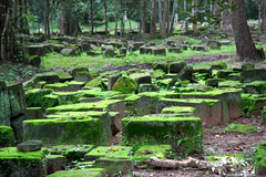 Ruins of Angkor Wat. Moss-covered ruins within Angkor Wat in Cambodia Stock Image