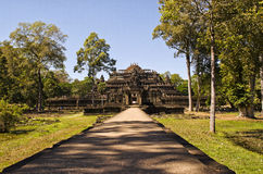 Ruins at Angkor Wat. Looking down a path onto some ruins at Angkor Wat, Cambodia Stock Photos