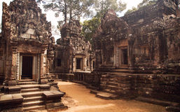 Ruins of Angkor Wat, part of Khmer temple complex, Asia. Siem R. Eap, Cambodia. Ancient Khmer architecture in jungle Royalty Free Stock Photography