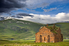 The ruins of Ani. Turkey. Ani - Armenian capital in the past, now is plateau with the ruins of churches near the Turkish-Armenian border. A mystique scenery of Royalty Free Stock Photo