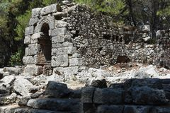 Ruins of antic port Phaselis, Turkey royalty free stock photography