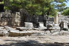 Ruins of antic port Phaselis, Turkey royalty free stock photo