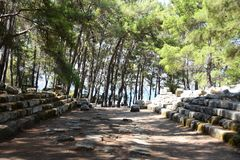 Ruins of antic port Phaselis, Turkey stock images