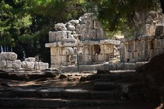 Ruins of antic port Phaselis, Turkey stock photos