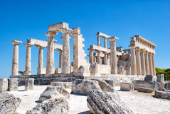 The ruins of the antic temple. The ruins of the antic greek temple. Island Aegina Stock Photo