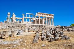 The ruins of the antic temple. The ruins of the antic greek temple. Island Aegina. Greece Royalty Free Stock Photography