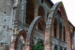 Ruins of an Antique Castle Building Entrance: Three Archs Stock Photo