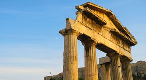 Ruins of antique Greek columns in Athens stock images