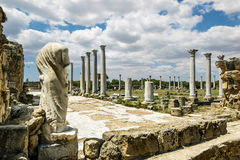 Ruins and antique statues in the ancient city of Salamis in Fama Stock Image