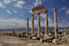 Ruins of Apamea. Apamea or Apameia was a treasure city and stud-depot of the Seleucid kings, was capital of Apamene, on the right bank of the Orontes River Royalty Free Stock Photos