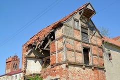 Ruins of the apartment house of the German construction. Zheleznodorozhny, Kaliningrad region.  Royalty Free Stock Photography