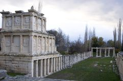 Ruins of Aphrodisias Ancient City, Aydin / Turkey. The photo inludes the ruins of buildings at Aphrodisias ancient city stock photos