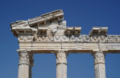 Ruins of Apollo`s temple in Side, Turkey stock photography