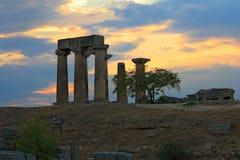 Ruins of Apollo temple of ancient Corinth, Greece stock photos