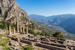 Ruins of Apollo temple in Ancient Delphi Royalty Free Stock Photo