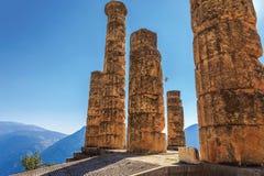 Ruins of Apollo temple in Ancient Delphi Stock Photos