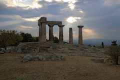 Ruins of Apollo temple in Corinth royalty free stock image