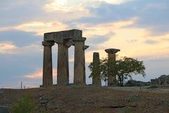 Ruins of Apollo temple in Corinth stock image
