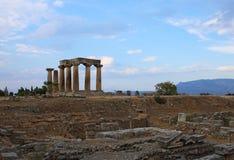 Ruins of Apollo temple in Corinth stock photos