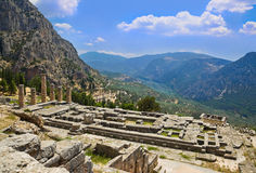 Ruins of Apollo temple in Delphi, Greece. Archaeology background Royalty Free Stock Image