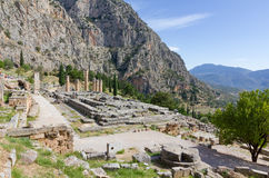 Ruins of Apollo temple, Delphi, Greece Royalty Free Stock Photography