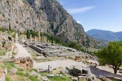 Ruins of Apollo temple, Delphi, Greece Royalty Free Stock Photography