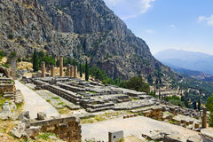 Ruins of Apollo temple in Delphi, Greece Stock Image