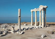 Ruins of Apollo temple in Side. Ruins of Apollo temple against the sea in Side, Turkey Royalty Free Stock Photo