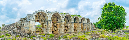 The ruins of aqueduct in Perge Royalty Free Stock Photos