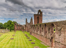 Ruins of Arbroath Abbey gardens and cemetery Royalty Free Stock Images