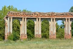 Ruins of arcade made of red brick in Ruzhany, Belarus. royalty free stock images