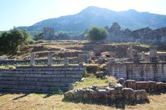 The ruins of Arcadian Gate. Peloponnes, Greece Stock Photography
