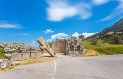 Ruins of Arcadian gete in Ancient Messina. Peloponnes, Greece Royalty Free Stock Photography
