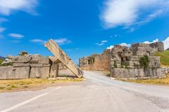 Ruins of Arcadian gete in Ancient Messina. Peloponnes, Greece Royalty Free Stock Photo
