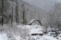 Arch bridge in mountains during winter, South Alps, Italy. Ruins of arch bridge in mountains during winter, Rezzo municipality, Province of Imperia, Italy Royalty Free Stock Photos