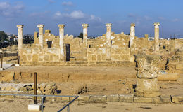 Ruins at the Archaeological site Kato Paphos in Cyprus. Stock Image