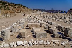 Ruins and archaeological site of Knidos, city of ancient Greece. Knidos Ancint City, Mugla, Turkey - August 08 2018: Ruins and archaeological site of Knidos royalty free stock photography