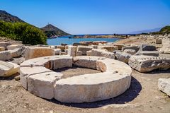 Ruins and archaeological site of Knidos, city of ancient Greece. Knidos Ancint City, Mugla, Turkey - August 08 2018: Ruins and archaeological site of Knidos royalty free stock images