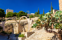 Ruins of arched gates at Santa Barbara Castle in Alicante, Spain Royalty Free Stock Photo