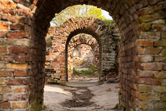 Ruins arched passage old building made of bricks. Maze ruins arched passage old building made of bricks Stock Images