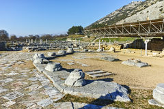 Ruins in the archeological area of ancient Philippi, Greece Stock Photos