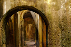 Ruins,archeology,mirabilis,bacoli,italy. Internal view of the Piscina Mirabilis. The Piscina Mirabilis was a freshwater cistern on the Bacoli cliff at the Stock Images