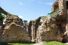 Old fortification structure. Ruins of the arches of the old defensive and secular fortress in the village of Golshany, Belarus Stock Photos