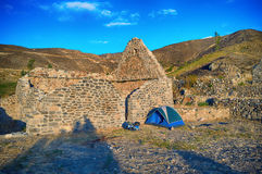 Ruins architecture, stone house, camping Royalty Free Stock Photos